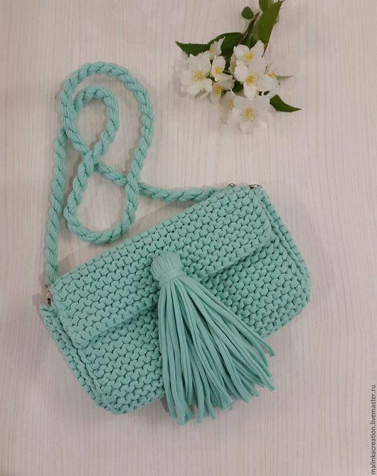Стильный вязаный клатч Mint Beauty от Malinka_Creations