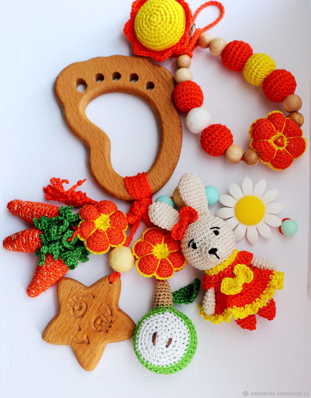 Прорезыватель игрушка Зайка с держателем, Игрушки, Губкинский, Фото №1