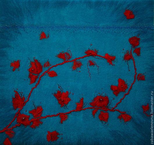 """Картины цветов ручной работы. Ярмарка Мастеров - ручная работа. Купить """"Алая ветка на голубом"""" панно. Handmade. Панно настенное"""