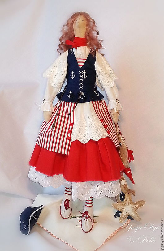 Куклы Тильды ручной работы. Ярмарка Мастеров - ручная работа. Купить Кукла Тильда  МАРИНКА. Handmade. Море, пиратка