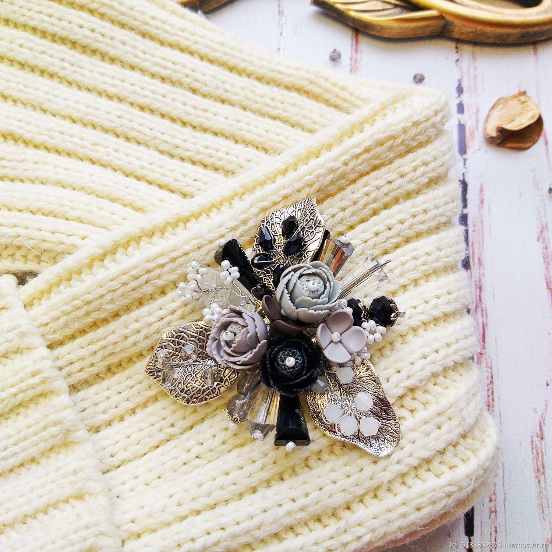 Brooch-pin: Coco Chanel Brooch Flowers Grey Black Silver, Brooches, Taganrog,  Фото №1