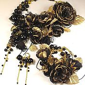 Украшения handmade. Livemaster - original item The Shadow Of The Golden Dragonfly. kit. Necklace, bracelet, brooch flower, earrings.. Handmade.