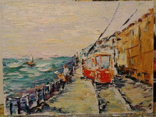 Город ручной работы. Ярмарка Мастеров - ручная работа. Купить Трамвай на набережной. Handmade. Картина для интерьера, городской пейзаж