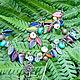 Разноцветный браслет, браслет с листьями, браслет с подвесками, браслет в подарок, браслет с цепочкой, браслет цепочка, украшение на руку, браслет стекло, стеклянный браслет, браслет из стекла