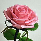 Цветы и флористика ручной работы. Ярмарка Мастеров - ручная работа Розовая роза из полимерной глины. Handmade.