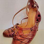Винтаж ручной работы. Ярмарка Мастеров - ручная работа Босоножки туфельки из натуральной кожи с оригинальным мысом на 36 разм. Handmade.