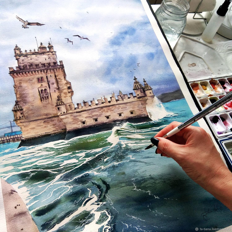 Картина: Замок, море, Португалия, Картины, Оренбург, Фото №1