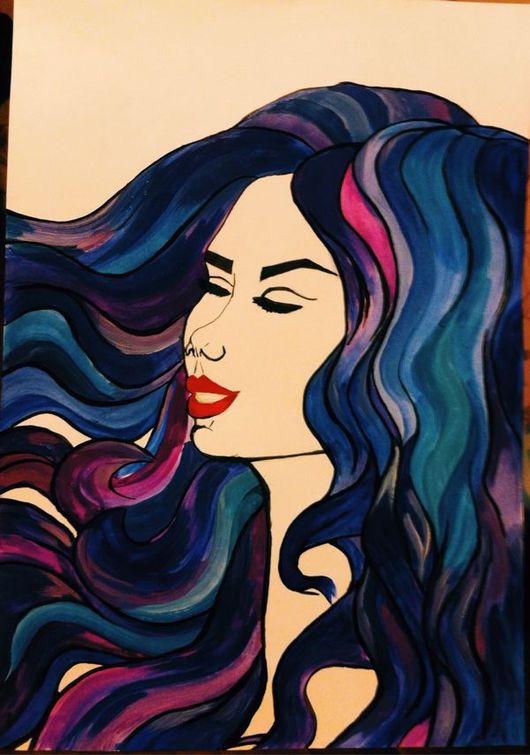 Абстракция ручной работы. Ярмарка Мастеров - ручная работа. Купить Carmen.. Handmade. Девушка, абстракция, волосы, космос, вода, спокойствие