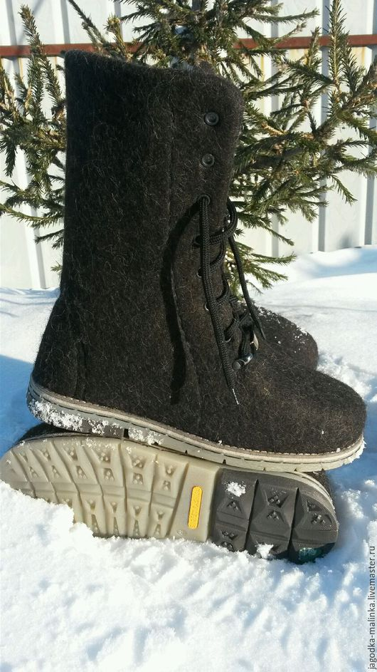 Обувь ручной работы. Ярмарка Мастеров - ручная работа. Купить Валяные мужские ботинки. Handmade. Черный, бергшаф