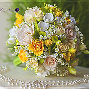 Цветы и флористика ручной работы. Ярмарка Мастеров - ручная работа Букет невесты. Ландыши, розы и фрезии. Handmade.