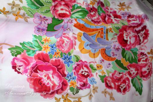 Шарфы и шарфики ручной работы. Ярмарка Мастеров - ручная работа. Купить Прекрасные розы, шёлковый платок. Handmade. Комбинированный, подарок