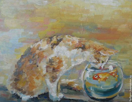 Животные ручной работы. Ярмарка Мастеров - ручная работа. Купить Картина. Котик и рыбка.. Handmade. Рыжий, картина, купить подарок