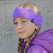 Аксессуары handmade. Livemaster - original item Knitted headband Purple Crown for a teenager in the fall. Handmade.