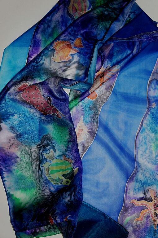 """Елена Узденикова Шелковый шарф """"Рыбы Красного моря"""" 35х180 см шелк, холодный батик"""