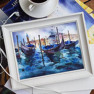 Картины и панно ручной работы. Ярмарка Мастеров - ручная работа Картина лодки акварелью. Handmade.