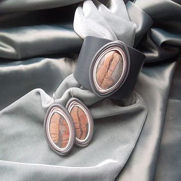 Украшения ручной работы. Ярмарка Мастеров - ручная работа Комплект из розовой яшмы. Украшение из кожи и камня. Handmade.