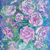 """Картины и панно ручной работы. Ярмарка Мастеров - ручная работа """"Букет Роз в Холодных Тонах""""- картина маслом с цветами. Handmade."""