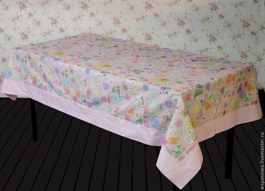 Текстиль, ковры ручной работы. Ярмарка Мастеров - ручная работа. Купить Льняная скатерть Розовое чаепитие. Handmade. Бледно-розовый