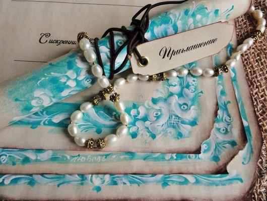 """Свадебные аксессуары ручной работы. Ярмарка Мастеров - ручная работа. Купить Приглашение - свиток """"Морозный узор"""" бирюзовый в винтажном стиле.. Handmade."""
