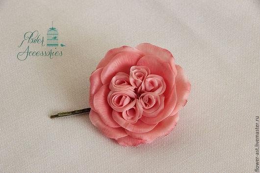 """Свадебные украшения ручной работы. Ярмарка Мастеров - ручная работа. Купить Украшение для невесты  """"Пионовидная роза"""". Handmade. Розовый"""