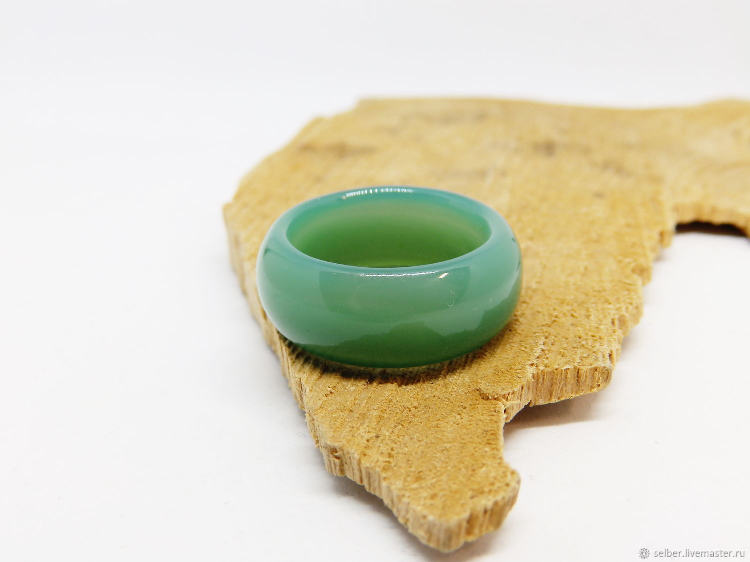 Green agate ring, chalcedony 18.75 R-R, Rings, Gatchina,  Фото №1