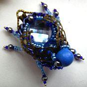 Украшения ручной работы. Ярмарка Мастеров - ручная работа брошь Маленький тёмно-синий  жучок из серии « Ультрамарин». Handmade.