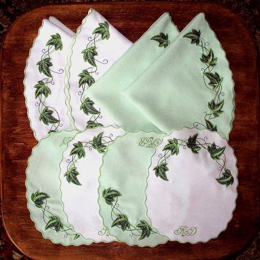 """Текстиль, ковры ручной работы. Ярмарка Мастеров - ручная работа. Купить Комплект салфеток """"Плющ"""". Handmade. Салфетка, салфетка овальная"""