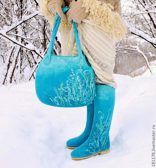 """Обувь ручной работы. Ярмарка Мастеров - ручная работа. Купить Валенки и сумка """"Бирюзовые травы"""". Handmade. Бирюзовый, комплект"""