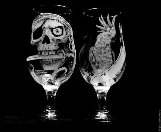 """Бокалы, стаканы ручной работы. Ярмарка Мастеров - ручная работа. Купить Бокалы для пива """"Пиратские сокровища!Тайна капитана."""". Handmade."""