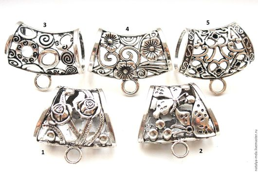 Для украшений ручной работы. Ярмарка Мастеров - ручная работа. Купить Бейлы для шарфа, платка (античное серебро) Ш-1. Handmade.