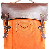 Сумки и аксессуары handmade. Livemaster - original item Suede backpack Student orange. Handmade.