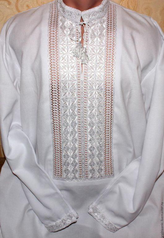 Этническая одежда ручной работы. Ярмарка Мастеров - ручная работа. Купить Красивая мужская вышиванка белым по белому. Handmade. Белый
