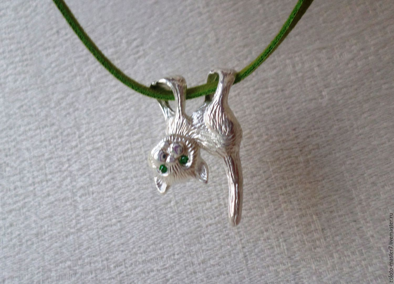 "Pendants handmade. Livemaster - handmade. Buy Серебряная подвеска ""Висящий кот"".Silver, leo, jewelry work"