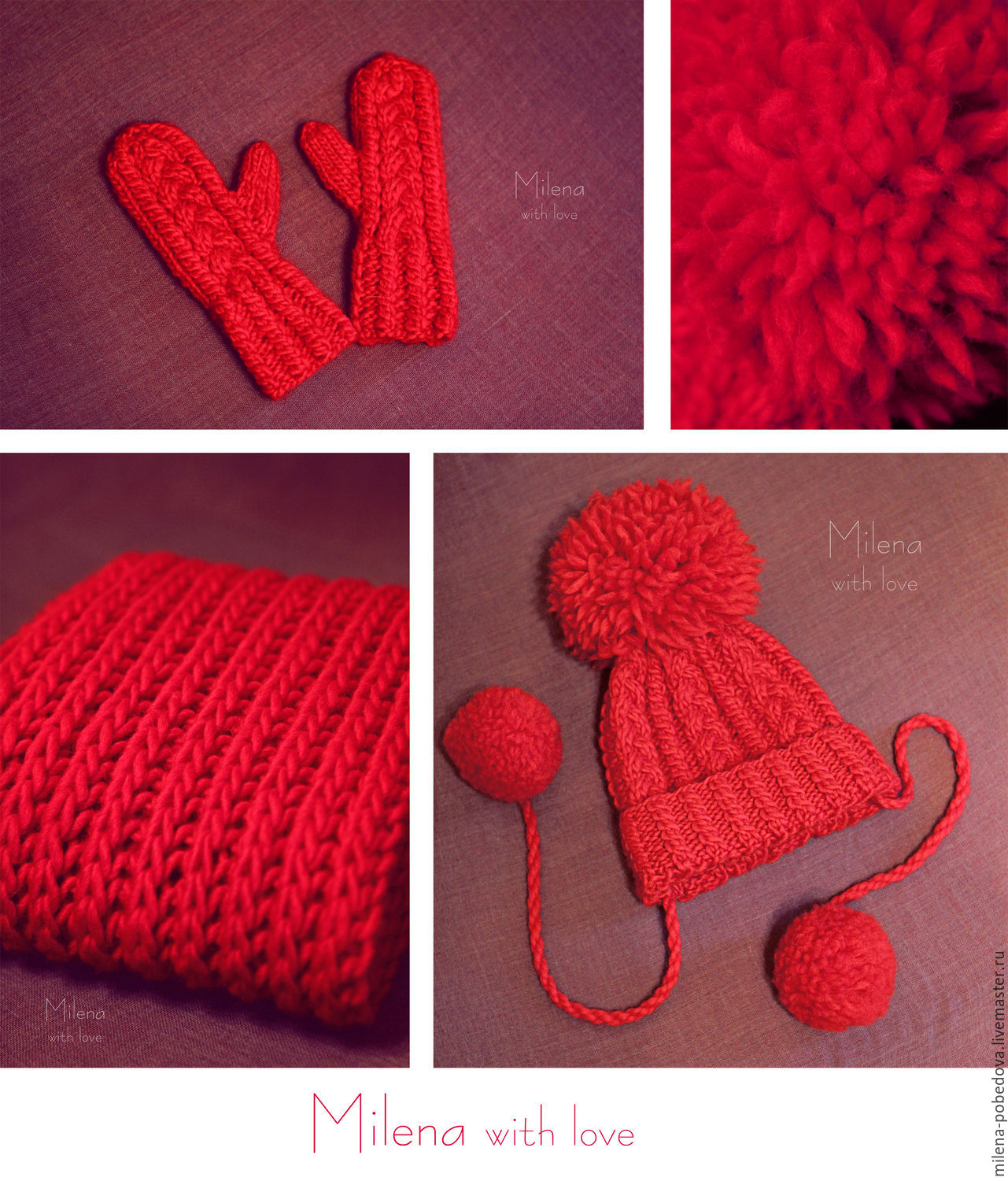 Set knitted For Thumbelina, knitted cap, scarf - snud and mittens, Caps, Minsk,  Фото №1