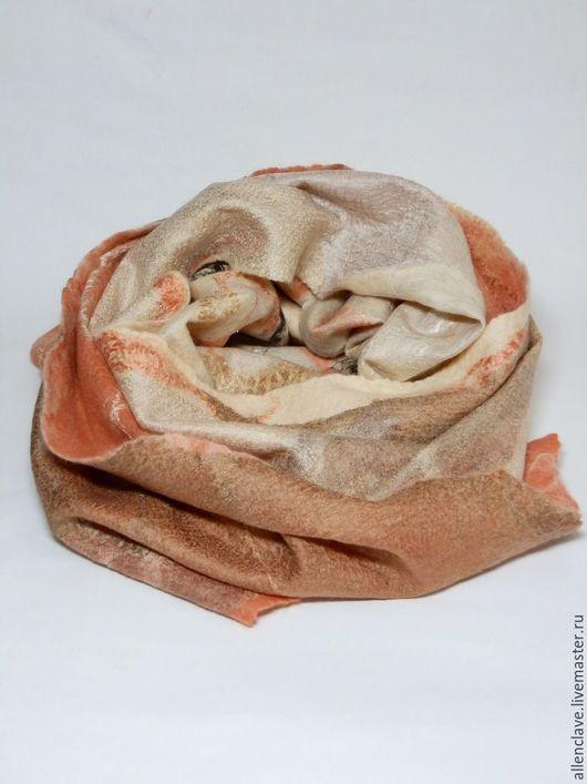 Шарфы и шарфики ручной работы. Ярмарка Мастеров - ручная работа. Купить шарф валяный Мякоть персика. Handmade. Разноцветный