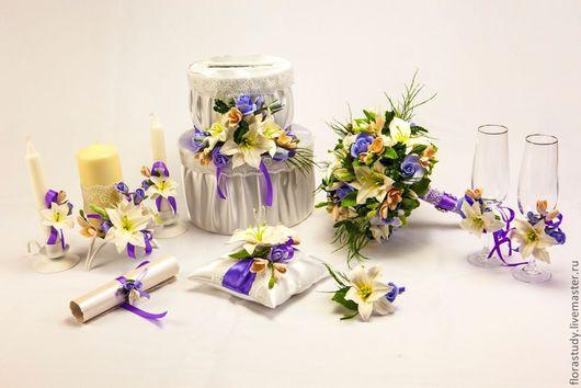 Свадебные цветы ручной работы. Ярмарка Мастеров - ручная работа. Купить Свадебный комплект: букет невесты, домашний очаг, свадебные бокалы. Handmade.