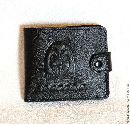 Кошельки и визитницы ручной работы. Ярмарка Мастеров - ручная работа. Купить Портмоне кожаное малое, чёрное. Handmade. Черный