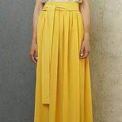 Одежда ручной работы. Ярмарка Мастеров - ручная работа Юбка в пол из шифона желтая в сборку двухслойная длинная. Handmade.