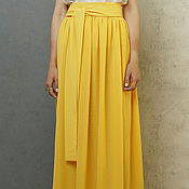 Одежда handmade. Livemaster - original item The floor-length skirt made of chiffon yellow Assembly double layer long. Handmade.