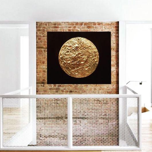 Абстракция ручной работы. Ярмарка Мастеров - ручная работа. Купить MOON Gold. Handmade. Серебряный, картина для интерьера, цветы, блеск