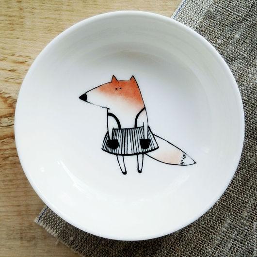Тарелки ручной работы. Ярмарка Мастеров - ручная работа. Купить Варенница с лисичкой. Handmade. Рыжий, лисенок, лисица, варенница