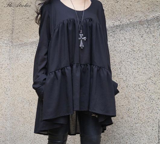 Блузки ручной работы. Ярмарка Мастеров - ручная работа. Купить Женская рубашка с длинными рукавами/F1511. Handmade. Черный, блузка качественная