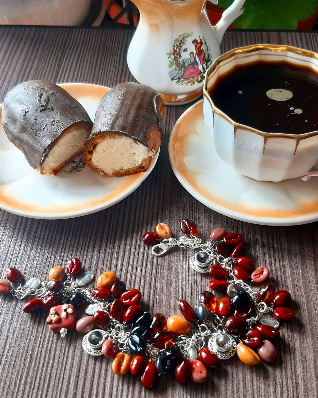 Браслет с кофейными зернами, Браслет из бусин, Белгород,  Фото №1