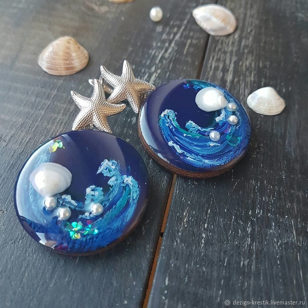 blue with painting and real shells, Earrings, Kazan,  Фото №1