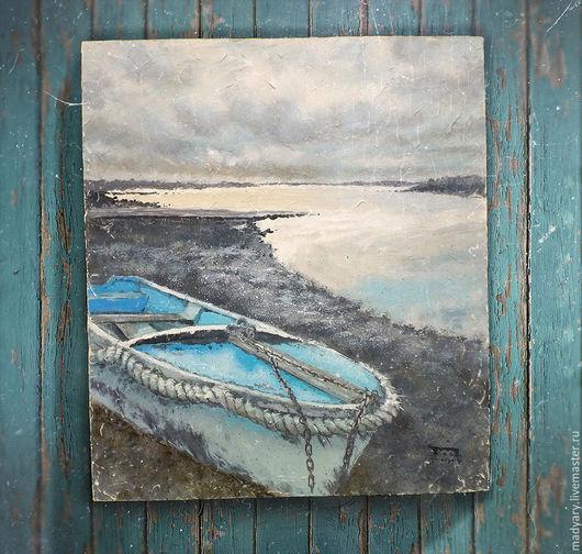 Пейзаж ручной работы. Ярмарка Мастеров - ручная работа. Купить картина Раннее утро на берегу реки... (голубой, серый, лофт). Handmade.