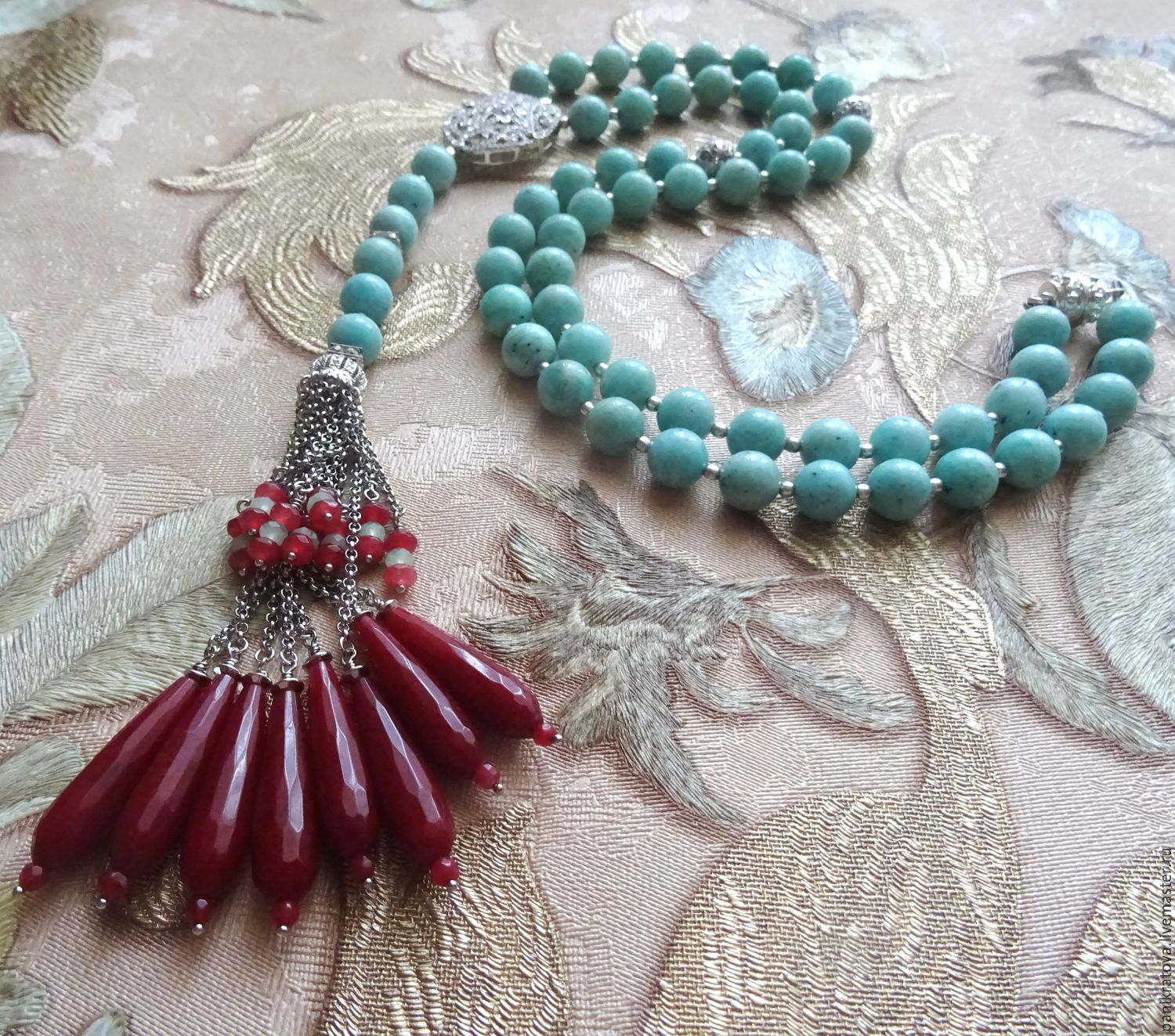 necklace 'art nouveau' (amazonite, agate, ruby, zircon), Necklace, Moscow,  Фото №1