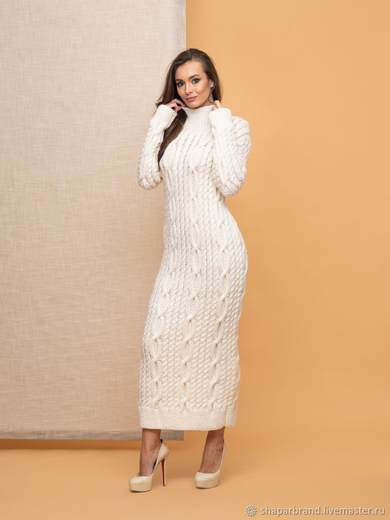 White knit dress with braids, Dresses, Moscow,  Фото №1