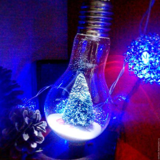 Дизайн интерьеров ручной работы. Ярмарка Мастеров - ручная работа. Купить Большая лампа с елкой внутри. Handmade. Комбинированный