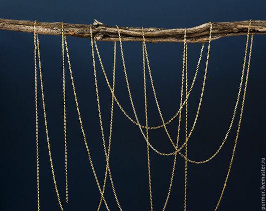 Для украшений ручной работы. Ярмарка Мастеров - ручная работа. Купить 1528_0.5_Золотая цепочка 1.1x1.3 мм,Позолоченная цепь,Фурнитура золото. Handmade.