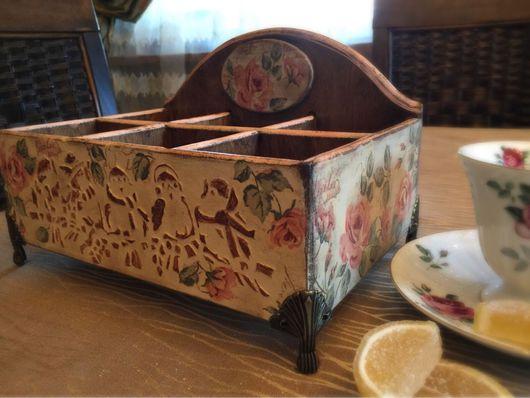 """Кухня ручной работы. Ярмарка Мастеров - ручная работа. Купить Коробка для чая """"Анютка"""". Handmade. Дерево, чудоцветы, чайная роза"""